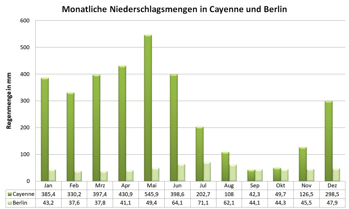Grafik: monatliche Niederschlagsmengen in Cayenne und Berlin