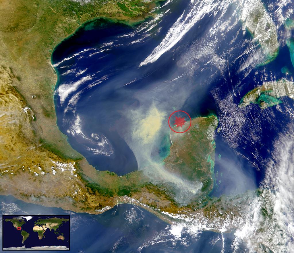"""Satellitenbild des Golfs von Mexiko und der Halbinsel Yucatan mit dem """"Chicxulub-Krater"""""""