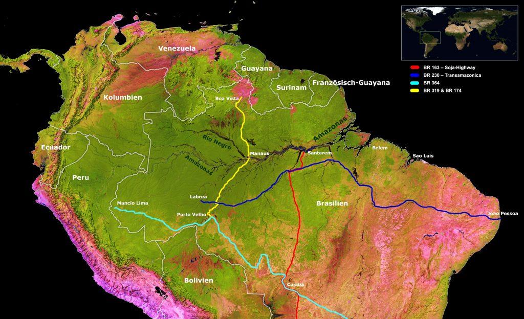 Grafik: Die großen Straßen in Amazonien - die Transamazonica (BR 230) und der Soja-Highway (BR 163)