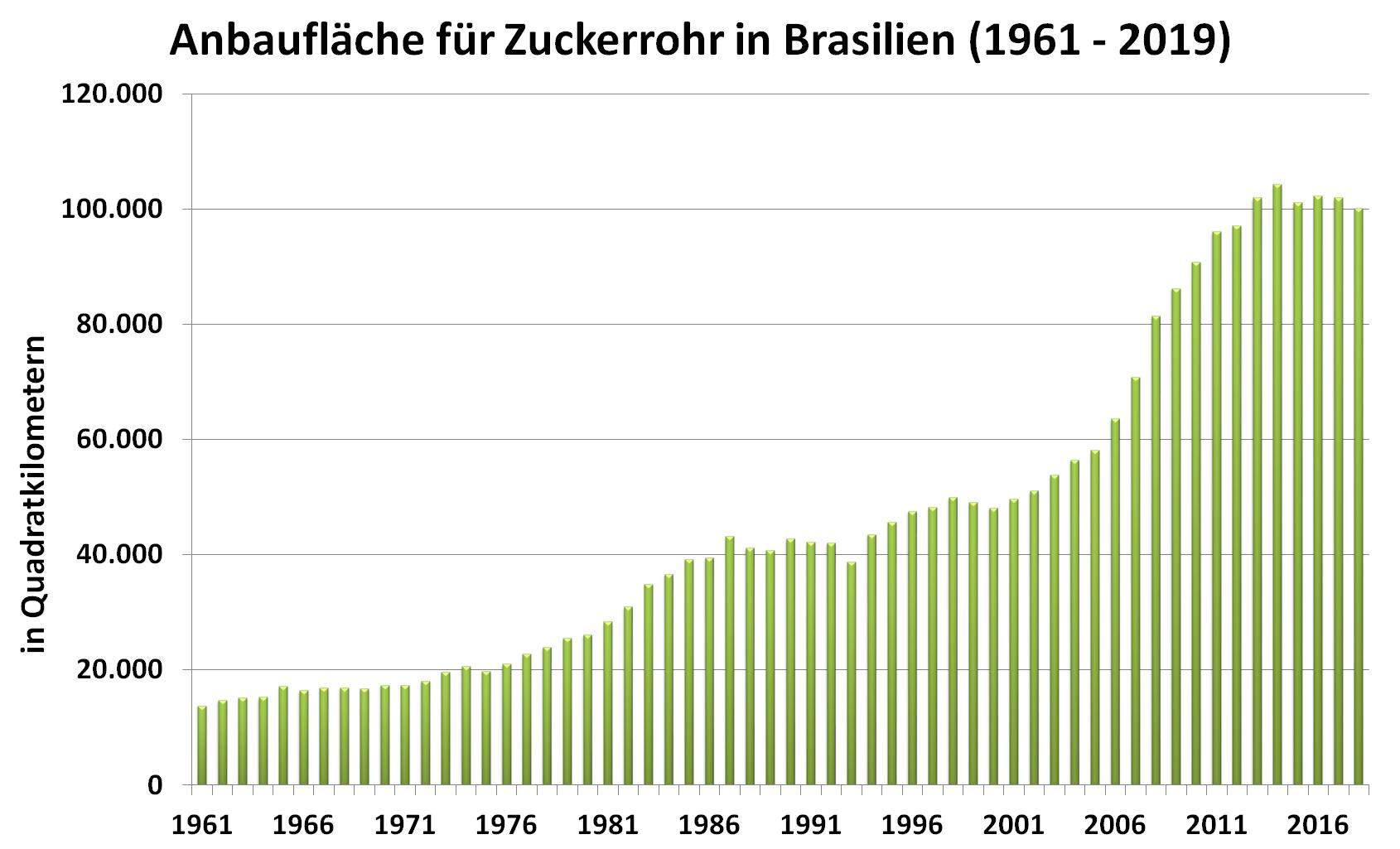 Grafik: Anbaufläche für Zuckerrohr in Brasilien (1961 - 2019)
