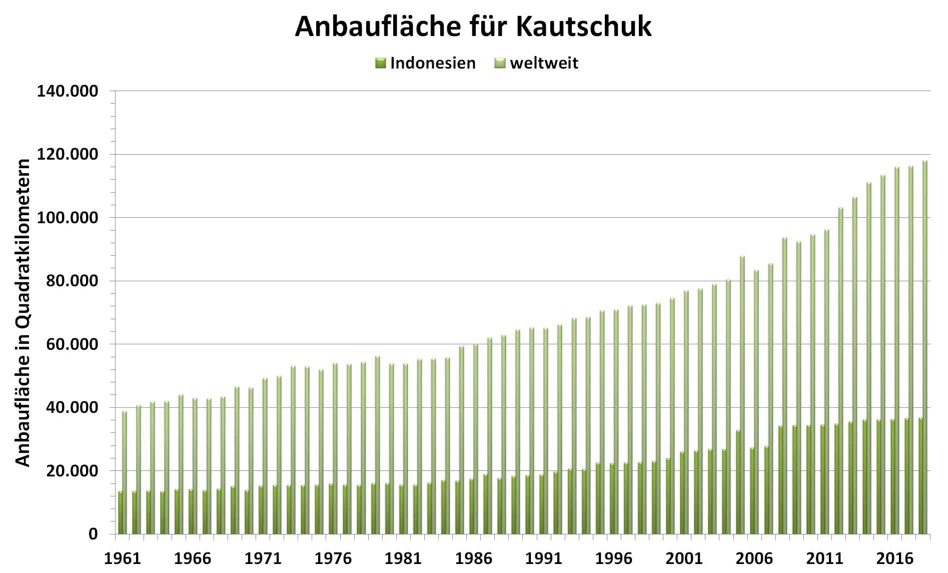 Grafik: Anbaufläche von Kautschuk weltweit und in Indonesien von 1961 bis 2018