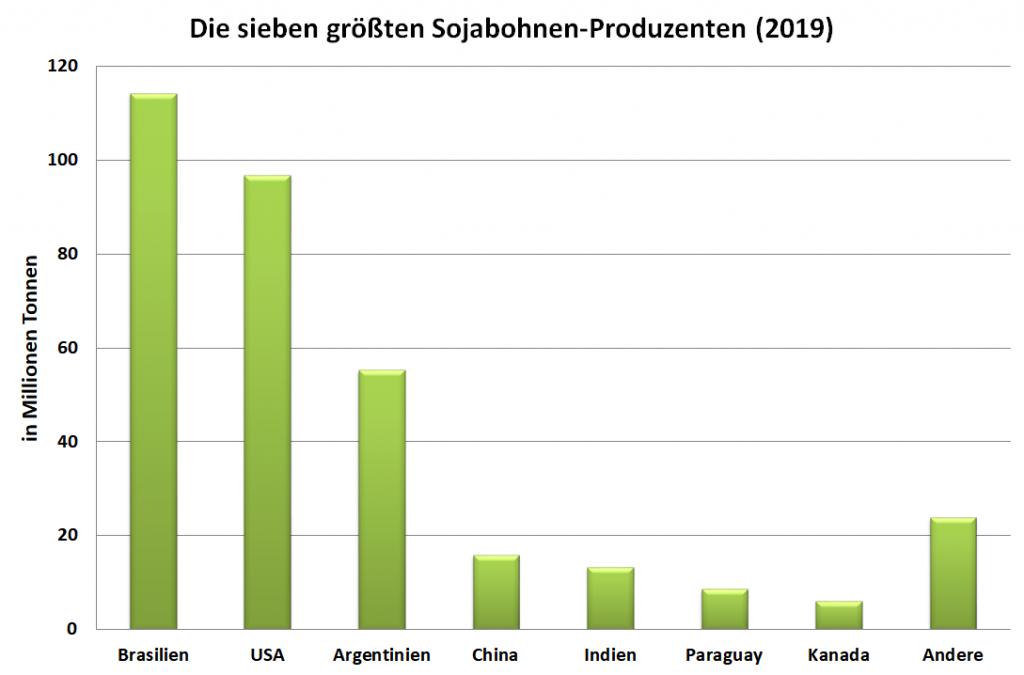 Grafik: Die sieben größten Soja-Produzenten im Jahr 2019