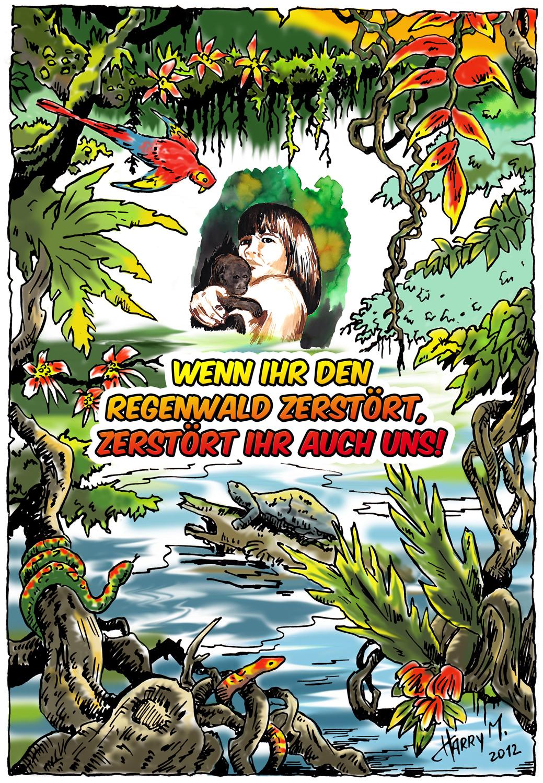 Regenwald-Zeichnung von Harry Messerschmidt